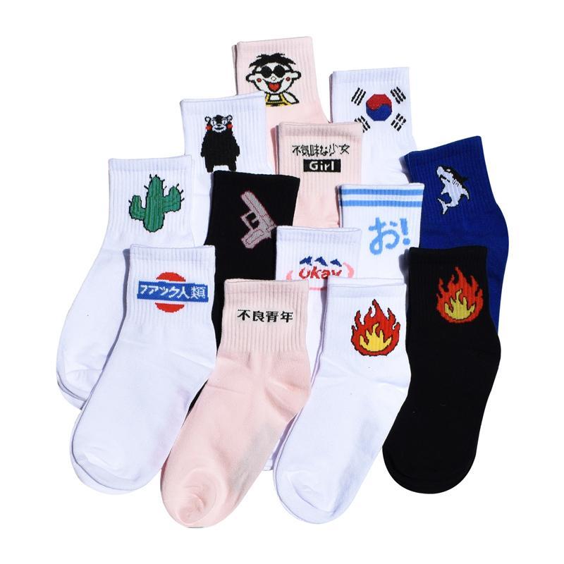 New Men&Women Daily Socks Harajuku Korea Japanese Cotton Kitten Flame Ulzzang Socks Men Chinese Cactus Gun Shark Alien Lovers Socks