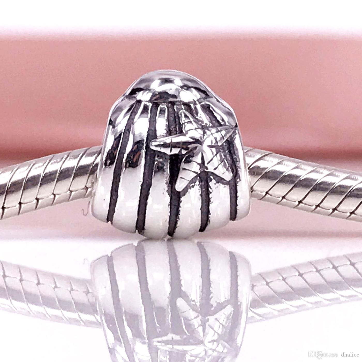 Authentic 925 Sterling Silver Seashell Charm Fit DIY Pandora Bracelet And Necklace 790972