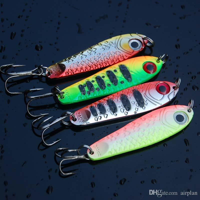 4pcs of Metal Fishing Spoon Lure Jigging Bait Hard Lure Pesca Fishing Artificial Bait Wobbler Spinner Accessories Leurre Peche Pesca Hooks