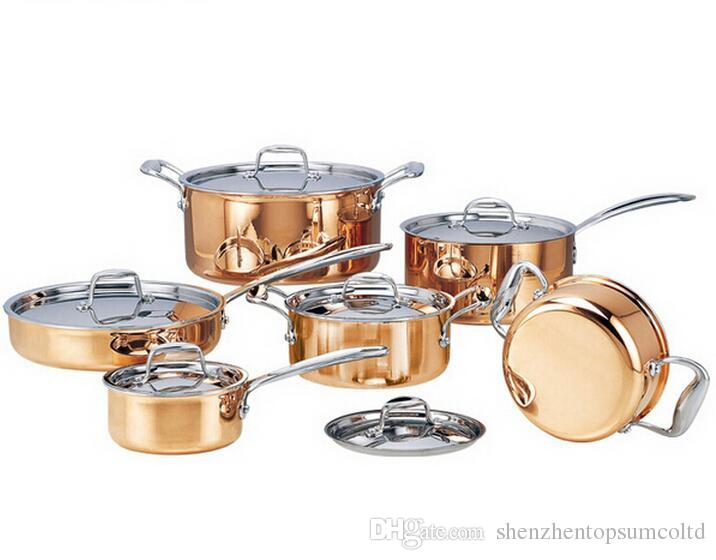 Hoogwaardige koper 6 stuks koken potten met koekenpan roestvrij pot hete pot en pannen cookware set