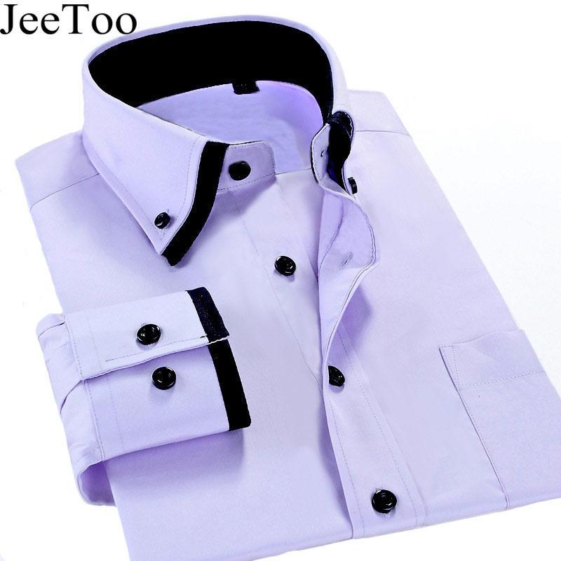 Wholesale- New Arrivel 2017 Mens Work Shirts Brand Long Sleeve Formal Business Men Dress Shirts White Male Shirt Plus Size 5XL Casual Shirt