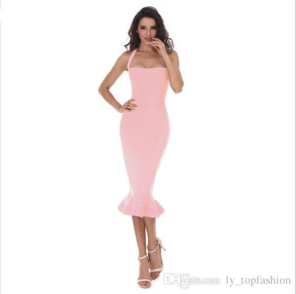 2020 New Fashion Women Party Bodycon Bandage Dress Sexy Khaki Wine Red Off Shoulder Halter Fishtail Midi Club Backless summer Dresses