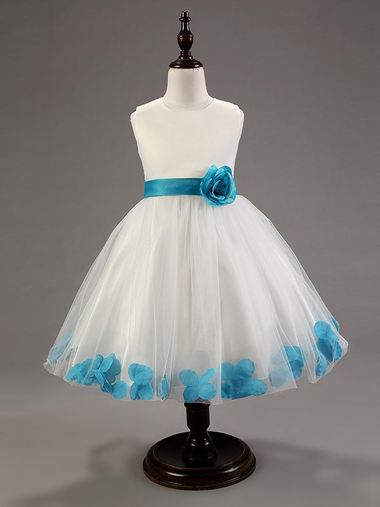 Großhandels-neues Tulle-Blumen-Mädchen-Kleid mit Schärpen Spitze-Rosen-Blumenblatt-Kinderkleid für Mädchen-Qualitäts-Mädchen-Kleid für Hochzeits-Vestido