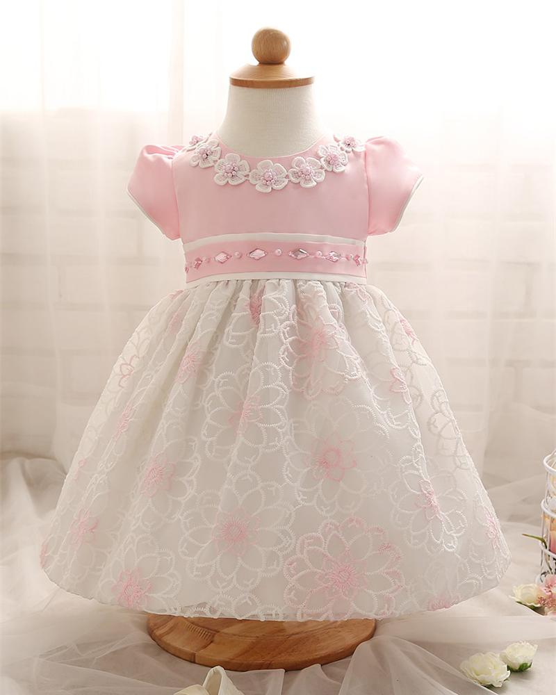 Wholesale- Top Quality Baby Dress For Kid Girl Party Clothing 1 Year Ceremonies Christening Party Dresses Costumes For Infant Newborn