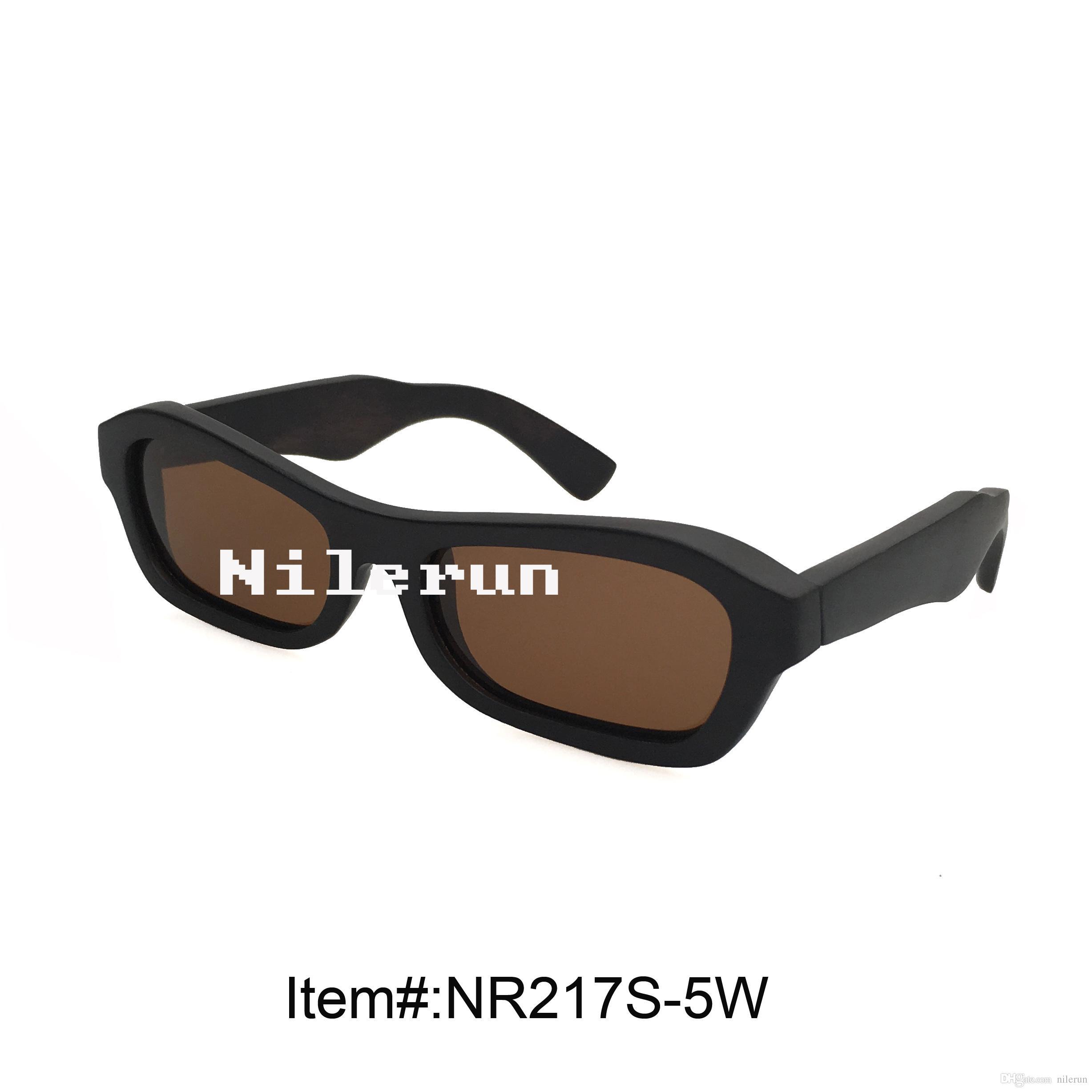 occhiali da sole rettangolari in legno nero