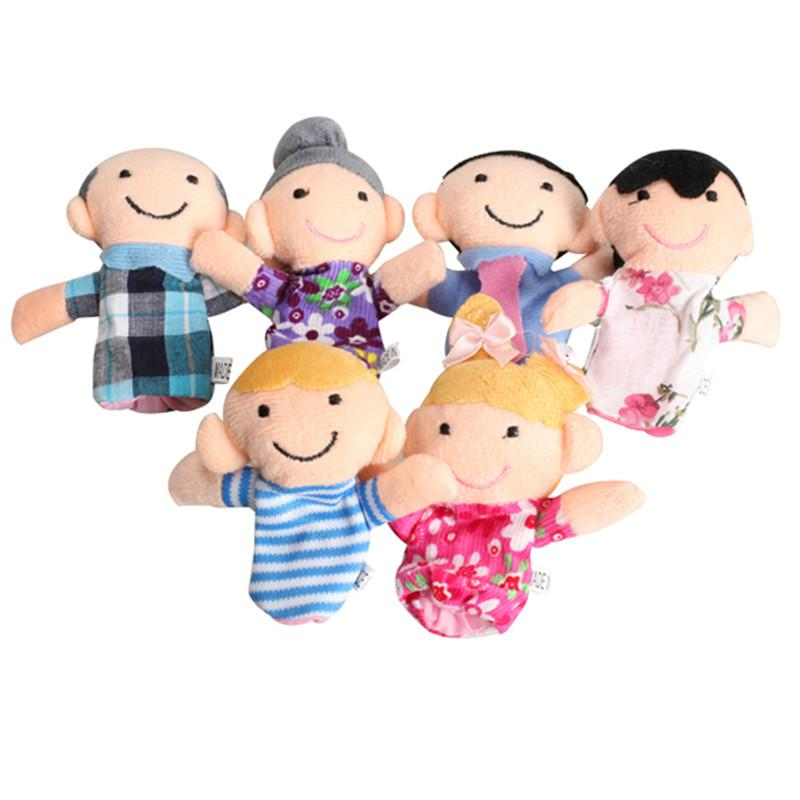 Wholesale-Low Price 6 pcs Cute Family Finger Puppets Cloth Doll Baby Educational Hand Toy cotton plush Wholesale