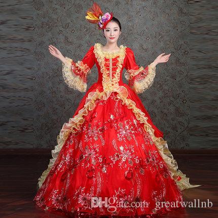 100% Real Cekiny Haft Flare Rękaw Złoty Wzburzyć Kołnierz Opera Stage Średniowieczna Dress Renaissance Cosplay Victoria Antoinette / Belle Ball