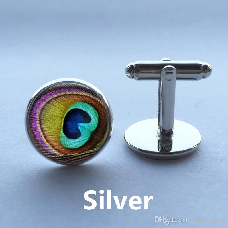 pair Men Cufflinks high quality, New Designs of Cuff Links,Peacock Feather,Silver Cufflinks for mens