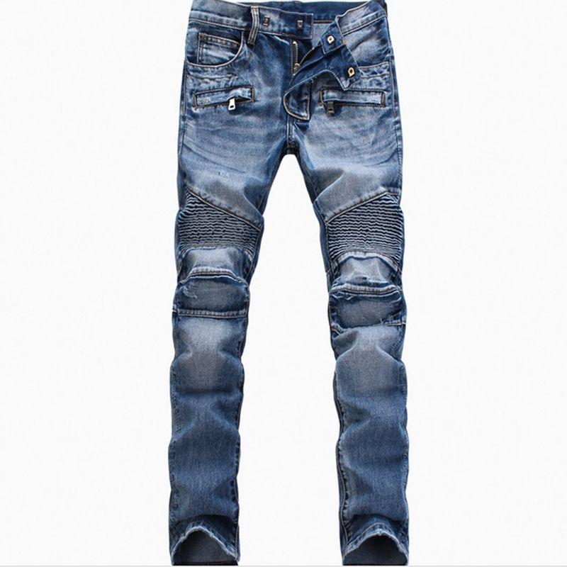 Mens Jeans afligido Ripped Skinny Slim Fit Designer longo Blue Jeans camuflagem Hip Hop calças lápis calças para Male