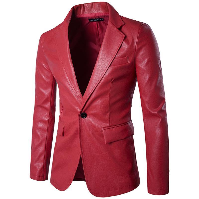 Rojo al por mayor de la PU de cuero del vestido de los hombres chaquetas para hombre de la fiesta de novia nuevo traje chaqueta delgada ocasional de la motocicleta Faux traje de cuero Homme