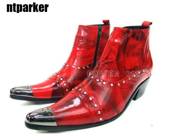 ITALY Tipo Stivali moda uomo in vera pelle Stivaletti Rosso Nero Stivali in pelle con punta a punta in acciaio Uomo, grandi taglie US6-12