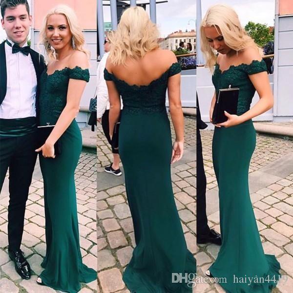 2020 Nowy Elegancki Hunter Green Mermaid Suknie Wieczorowe Off Ramię Koronki Aplikacje Open Back Satin Sweep Pociąg Formalna Party Dress Suknia