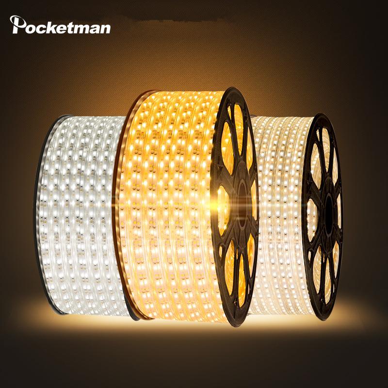 Toptan-LED şerit Su geçirmez SMD 5050 AC220V 1M 2M 3M 5M 6M 8M 9M 10M 15M 25M AB Güç Fişi ile şerit 5050 220V Işık açtı