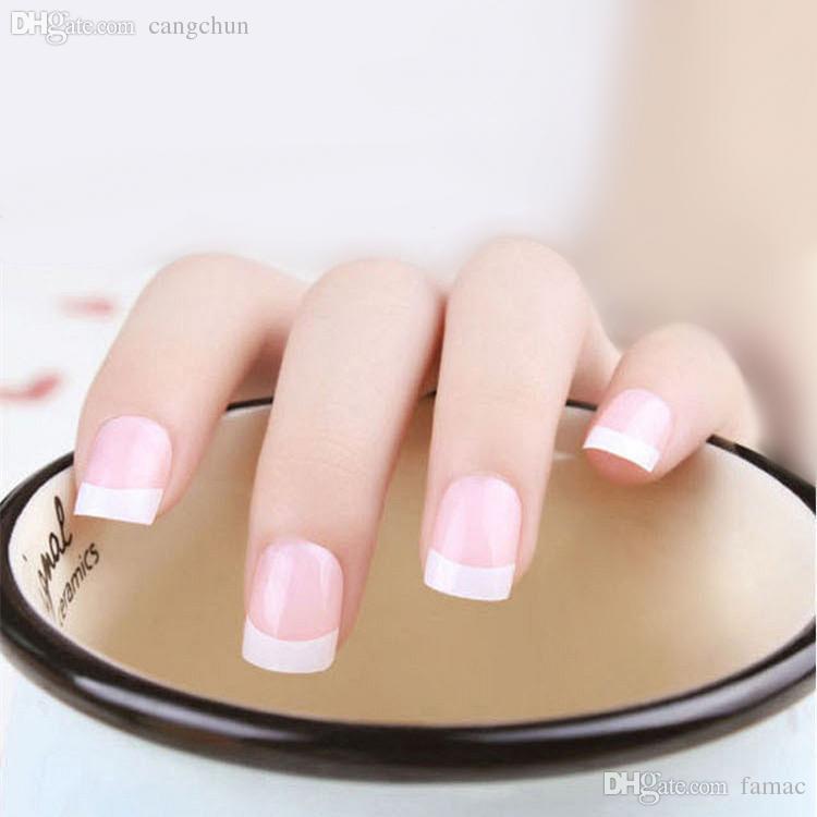 Wholesale-2015 short fake nails with glue wedding 3d false nails ...