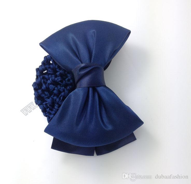간단한 일반 bowknot 목장 머리 클립 snood 빵 그물 활 knot snood net holder 머리 커버 액세서리 dubaa