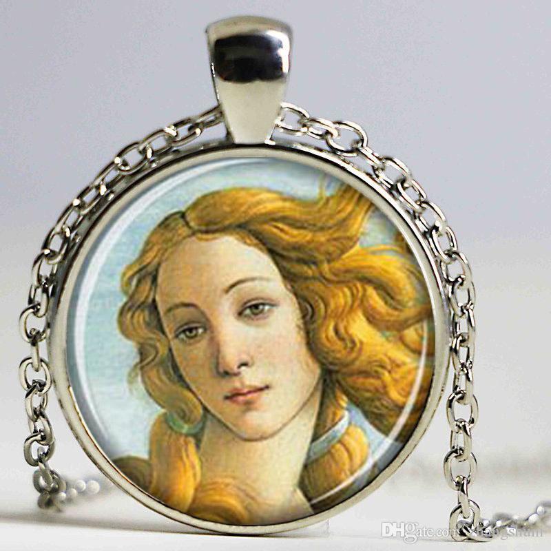 O Nascimento de Vênus pingente Venus colar Venus jóias Botticelli art Vidro Cabochão Colar