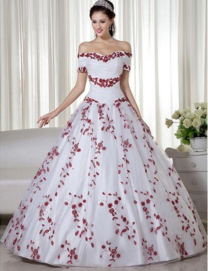 Großhandel Weiß Und Rot 12 Neue Ballkleid Prinzessin Hochzeitskleid  Stickerei Handgemachte Sondergröße Bunte Braut Korsett Aus Schulter Plissee  Tüll