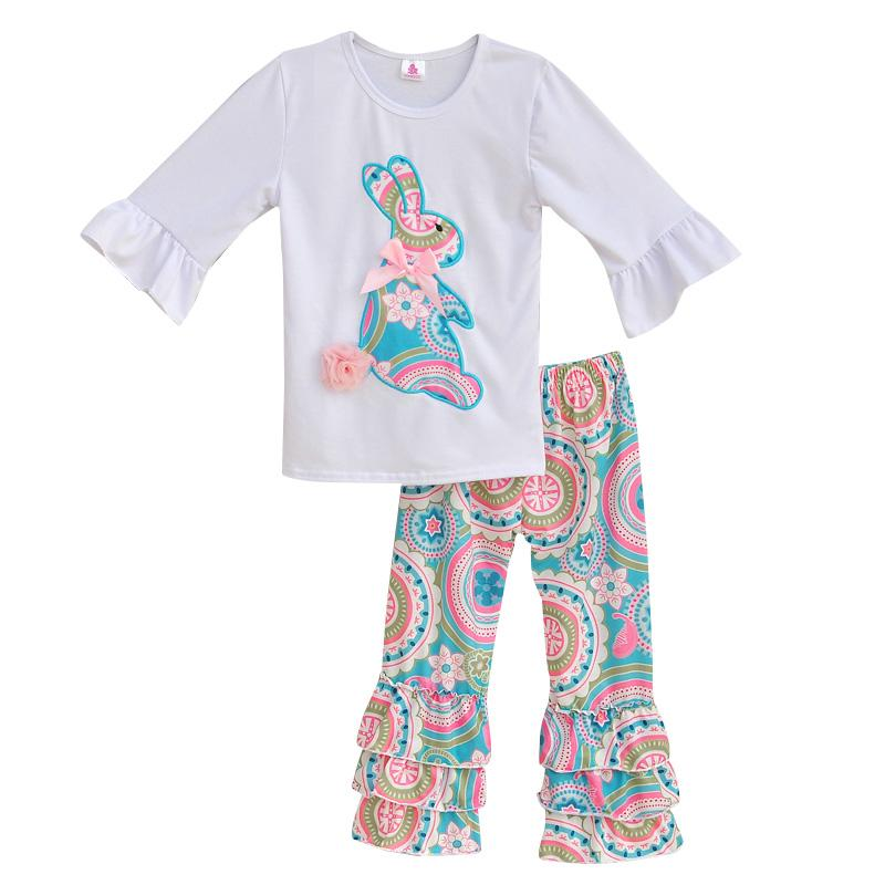 Wholesale- Girls Spring Clothes Set White Top With  Tee Shirts Colorful Vintage Ruffle Pant Kids Clothing Boutique Cotton Outfits E001