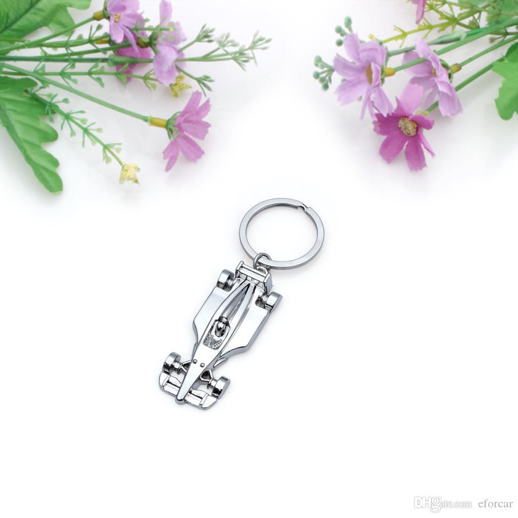 10Pcs / Lot 차 Keychains 남자의 선물을위한 창조적 인 F1 경주 차 금속 열쇠 고리