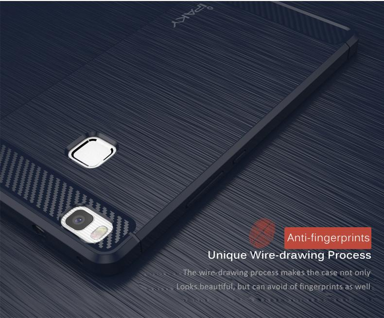 IPAKY® For Huawei P9 Lite TPU Case Wire-drawing Carbon Fiber ...