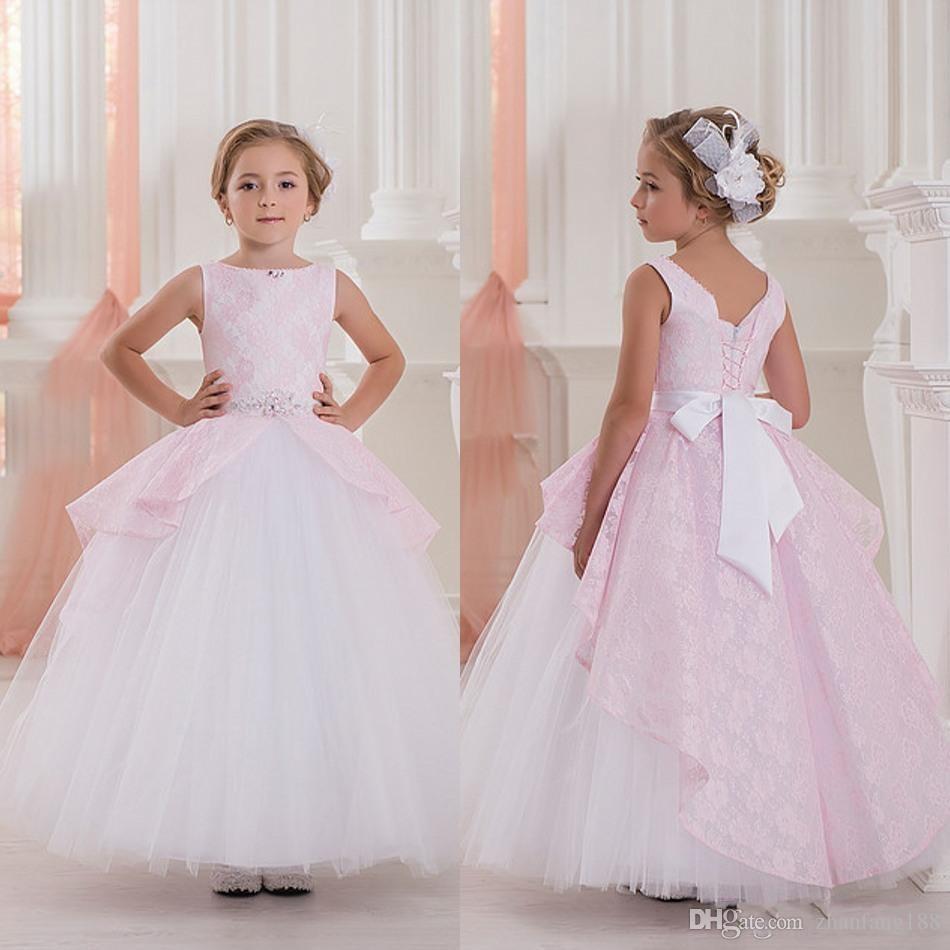 2019 New Cute Pink Ball Gown Flower Girls Abiti per matrimoni senza maniche in pizzo Abiti da spettacolo Abiti da prima comunione