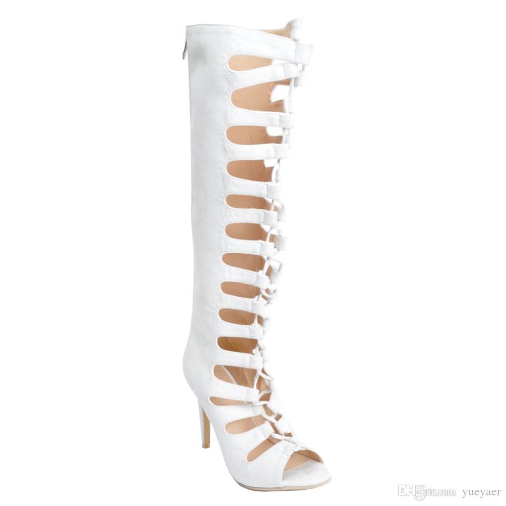 Zandina Women 's Hollow Thigh Knee High Heel 지퍼 패션상의 부츠 슈즈 XD216