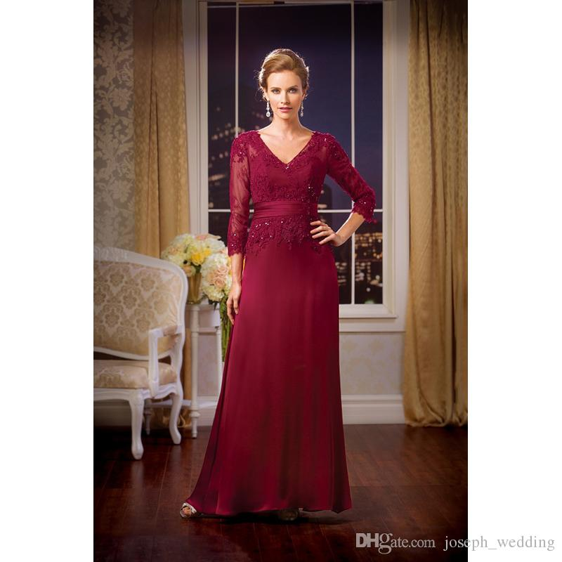 Straight Burgundy Evening Dresses Three Quarter Sleeve V-Neck Satin Applique Prom Gowns Crystal Sashes Design Party Gowns