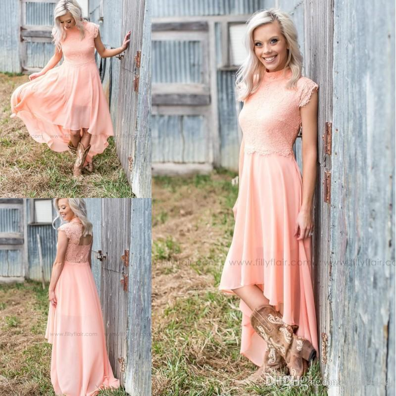 Vintage Blush Lace Chiffon Country High Low Bridesmaid Dresses 2017 Modest  High Neck Cap Sleeve Boho Maid Of Honor Beach Wedding Guest Gown 238045e30dc8