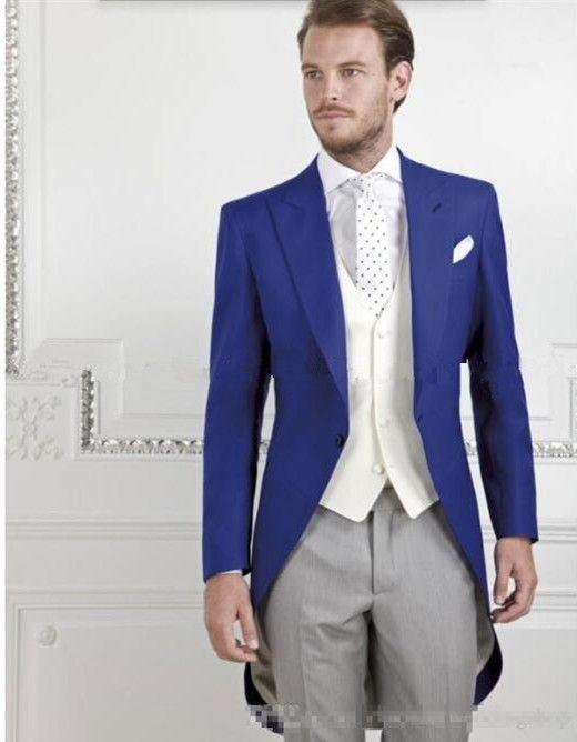 Latest design men suits tailcoat Royal Blue Groom suits Tuxedos ...