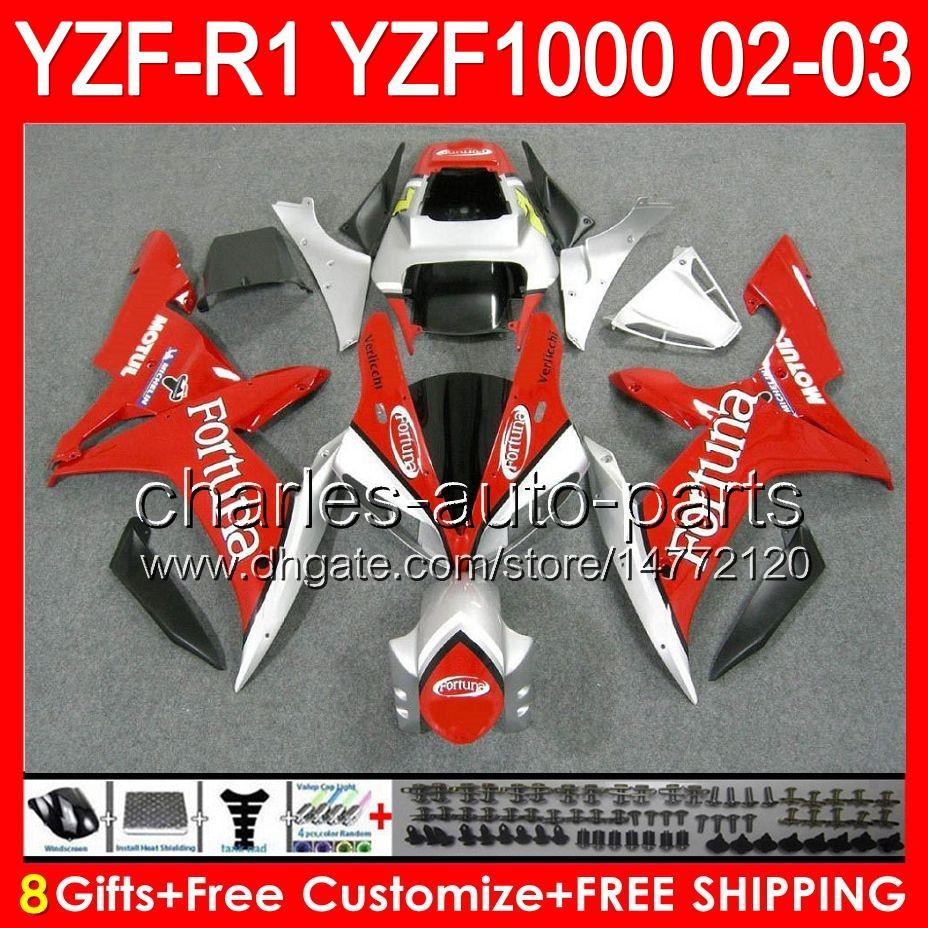 8Gifts Yamaha Yzfr1 02 03 YZF1000 YZF-R1 02-03 Fortuna Red 92NO58 YZF 1000 YZF-1000 YZF R 1 YZF R1 2002 2003 Fortuna 화이트 페어링