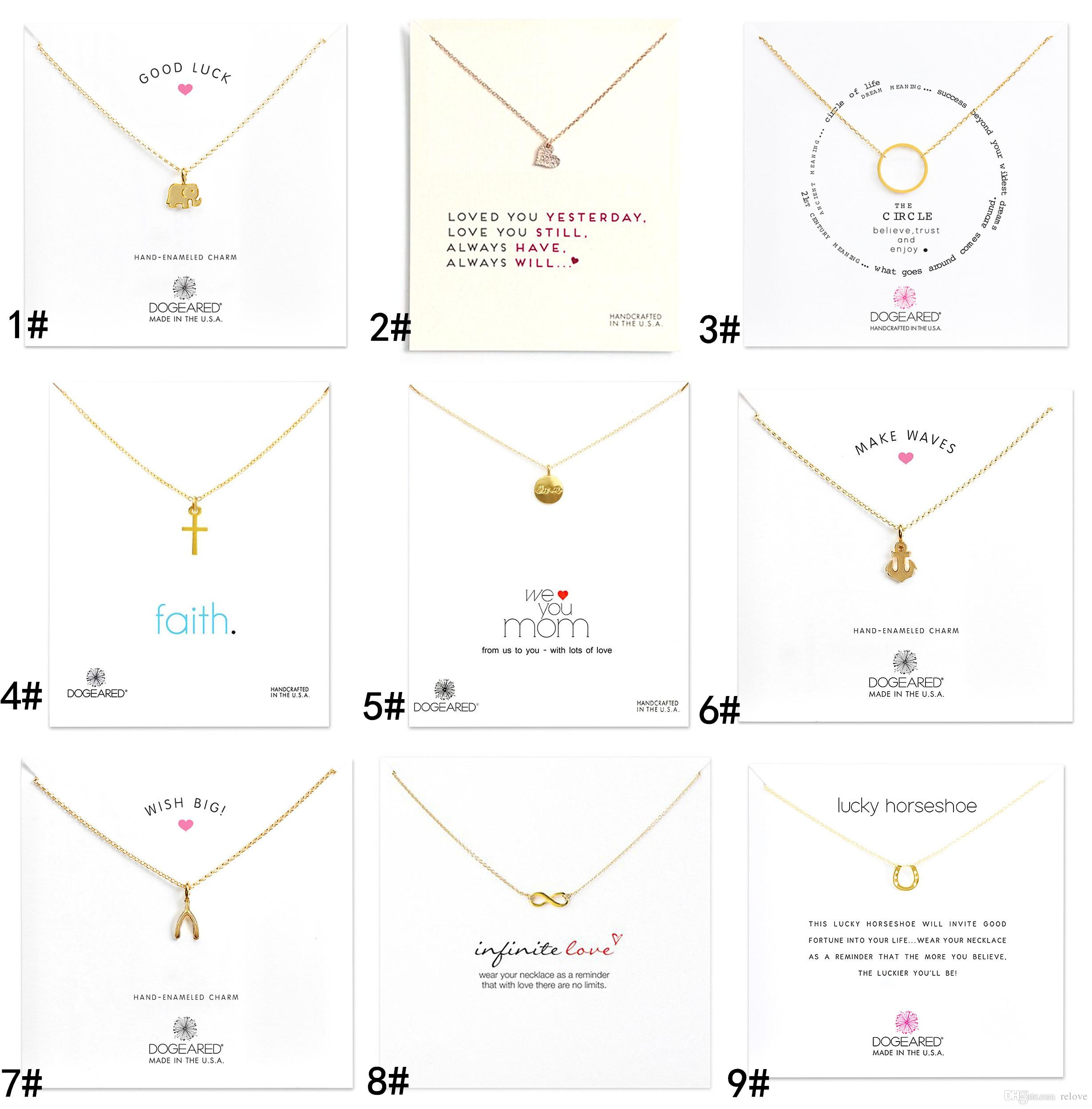 New arrival With card! gold Silver color Dogear Necklace with different pendant, cross/Wishing Bones/Anchor/infinity/Circle/Elephant/Heart L