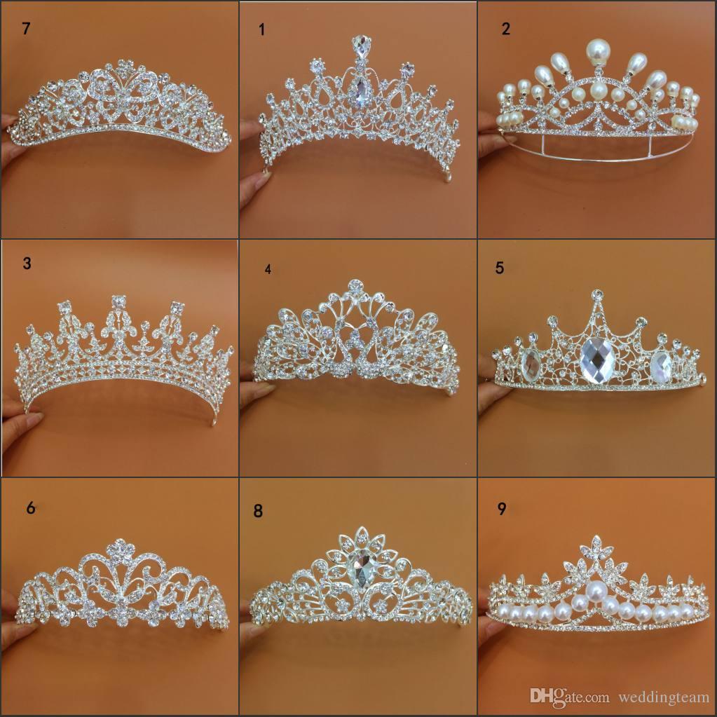 Neue Ankunft Luxus Verschiedene Arten Hochzeit Diademe Diamant Cryatal Empire Crown Braut Stirnband Für Braut Haarschmuck Party Zubehör