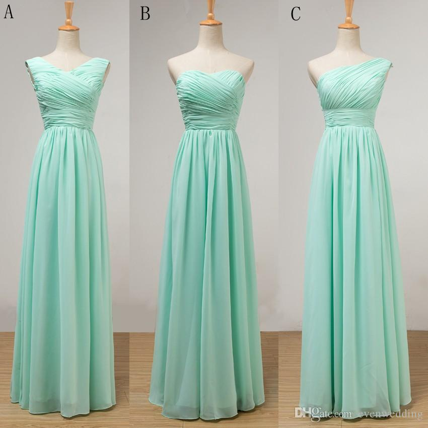 웨딩 파티를위한 Pleated 긴 쉬폰 신부 들러리 복장 박하 녹색 바닥 길이 드레스 New Robe Demoiselle D' Honneur
