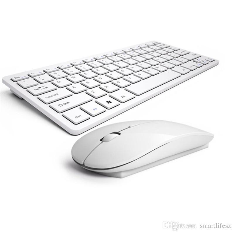 تصميم عصري 2.4G لوحة مفاتيح لاسلكية فائق النحافة وماوس كومبو ملحقات كمبيوتر جديدة لأجهزة Apple Mac PC Windows XP Android Tv Box