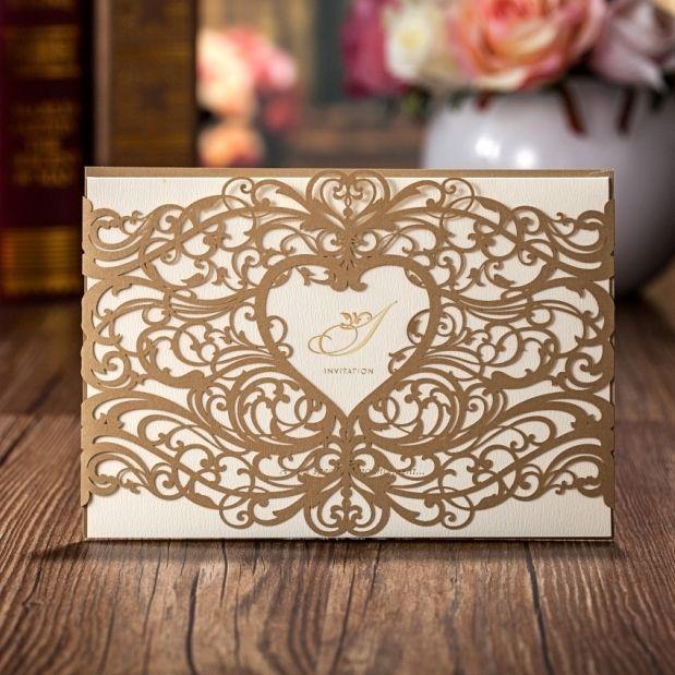 Al por mayor-invitaciones de boda elegante corte láser invitaciones de boda tarjeta de papel cw5018