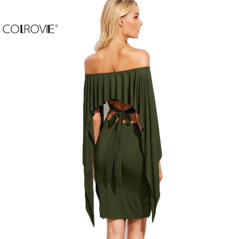 Colrovie zeytin yeşil kapalı omuz kesme kravat geri pelerin dress seksi bayanlar uzun kollu diz boyu dress 17309
