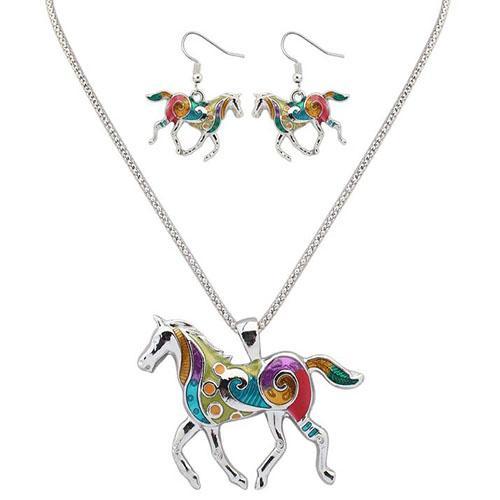 Tier Schmuck Sets für Frauen hängende Schmuck Regenbogen Pferd mit Ölgemälde Muster Anhänger Halskette und Ohrringe Schmuck Sets