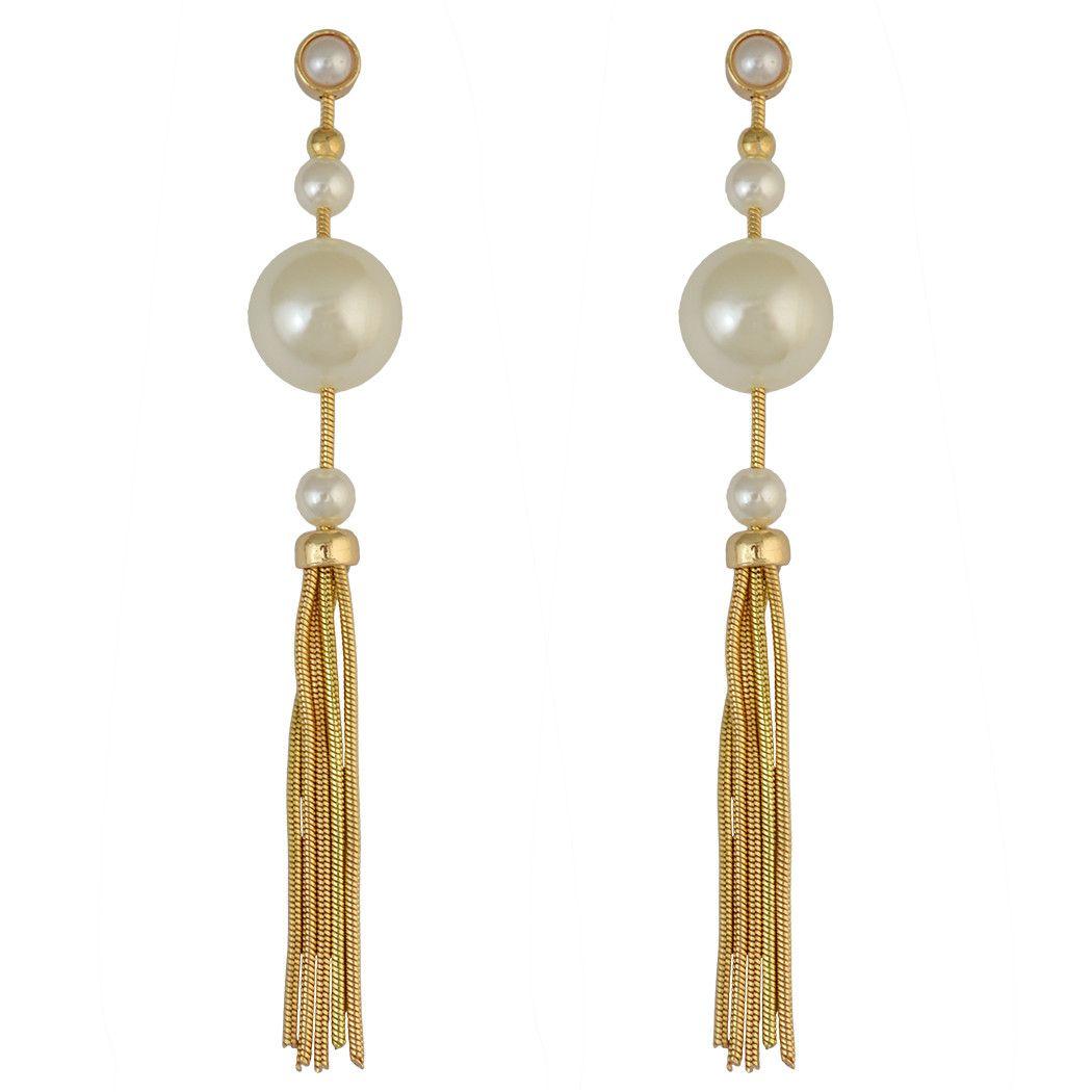 idealway Fashion Jewelry 18K Gold Plated Alloy Geometry Shape Pearl Simple Pendant Waterdrop Fish Hook Dangle Stud Earrings
