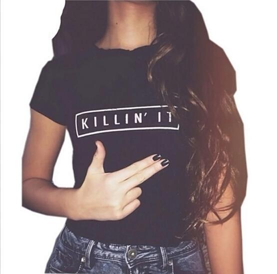 الجملة-كيلين ذلك الأزياء القطن المرأة تي شيرت القميص بلايز المتناثرة المحملة أبيض أسود قصير الأكمام بلايز عارضة يلة النادي الملابس