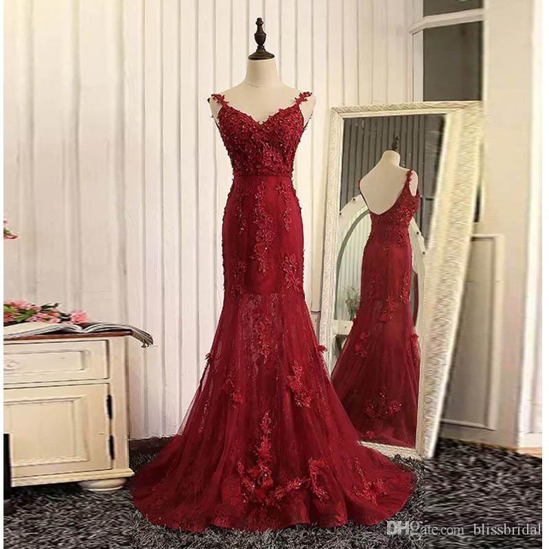 Красный органзы кружева аппликация V-образным вырезом с открытой спиной длинные платья выпускного вечера развертки поезд русалка вечерние платья бесплатная доставка