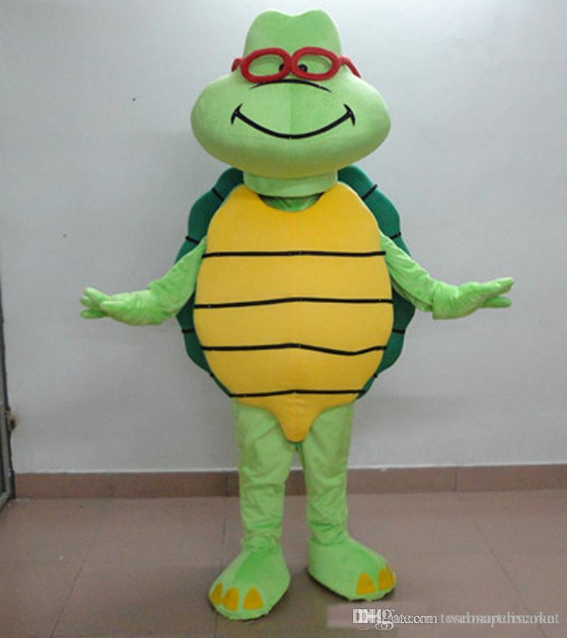 Hight Quality Cute Old Glasses Turtle Mascot Costume Custom