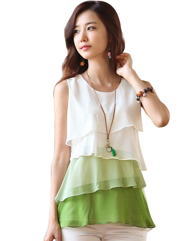 2017 새로운 멀티 컬러 블라우스 셔츠 봄 / 여름 스타일 Flounce 다층 탑스 라운드 넥 민소매 쉬폰 셔츠 Blusas Femininas