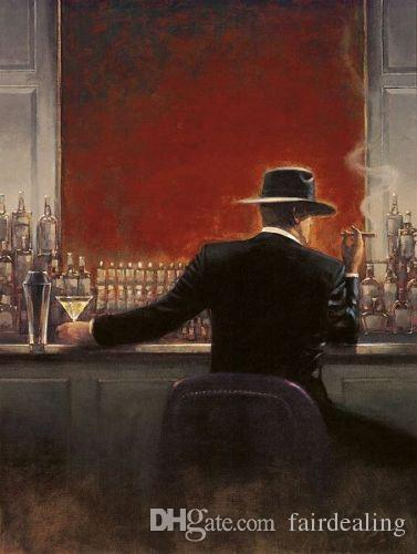 Çerçeveli Brent Lynch: Puro Bar, Saf El Boyalı Modern Duvar Sanat Yağlıboya Tuval Üzerine.
