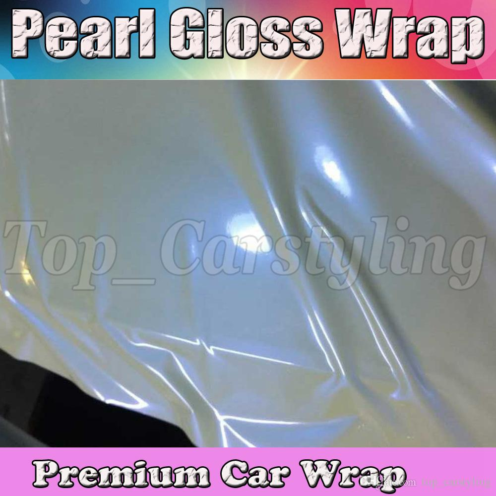Pearlecsent Glossy Shift White / blue vinyl Wrap With Air Release Pearl Gloss GOLD For Car wrap styling Cast Film size 1.52x20m/Roll