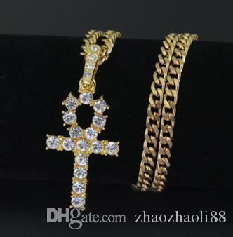 14K Gold Hip-Hop Halskette K Kreuz Anhänger Halskette Männer und Frauen Kuba Kette