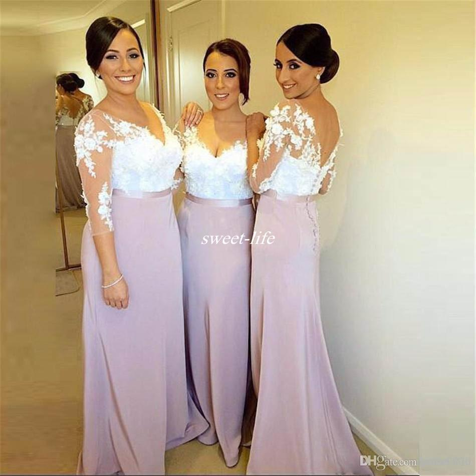 Light Purple Long Sleeve Mermaid Bridesmaid Dresses With Button Covered  Plus Size Lace Women Formal Gowns Bridesmaids Dress For Wedding 2017 ...