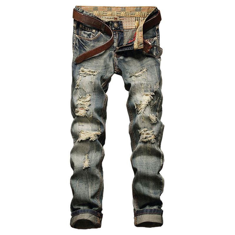 Wholesale- NEW Long Trousers Jeans Men Ripped Frazzle Casual Straight Legged Denim Pants Large Slim Fit Classic Homme Biker Jeans