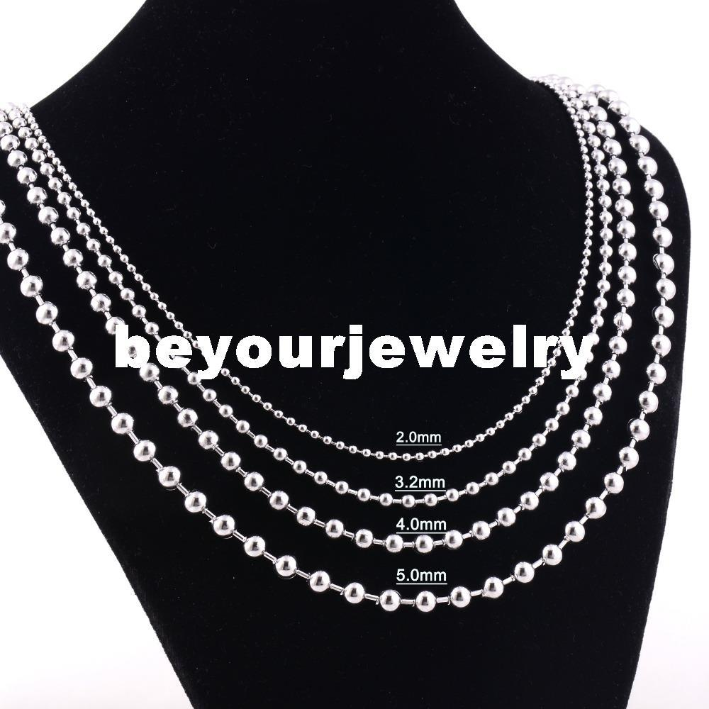 """Width 1.2mm/1.5mm/2mm/2.4mm/3.2mm/4mm/5mm/6mm/8mm/10mm Stainless Steel Shiny Polished Round Ball Beads Necklace Chain (18""""-22"""" inches)"""