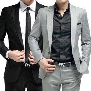costume pour hommes (veste + pantalon + cravate) formel habillement fête de mariage groom chanteur gris noir blanc rouge couleur mâle tenue hôte Stage Stage Wear
