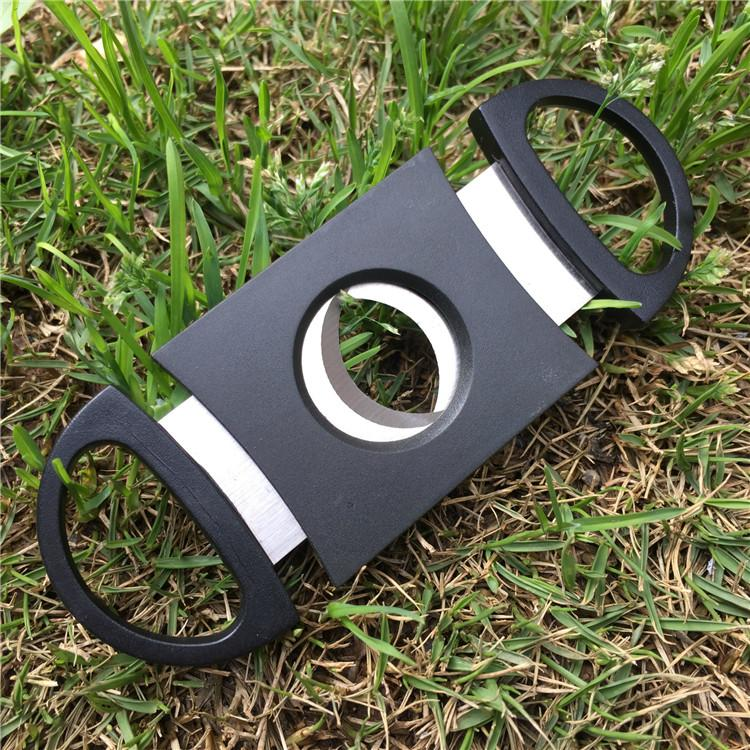 Pocket Plastic Stainless Steel Double Blades Cigar Cutter Knife Scissors Tobacco Black New DHL FEDEX free
